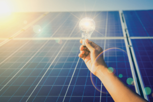 Man holding light bulb in front of cold storage solar panels